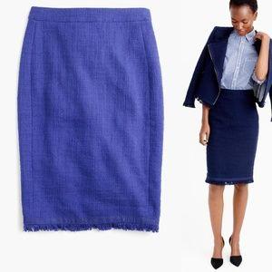 J. CREW Purple Textured Tweed Fringe Pencil Skirt